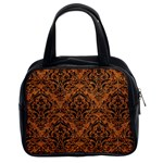 DAMASK1 BLACK MARBLE & RUSTED METAL Classic Handbags (2 Sides) Front
