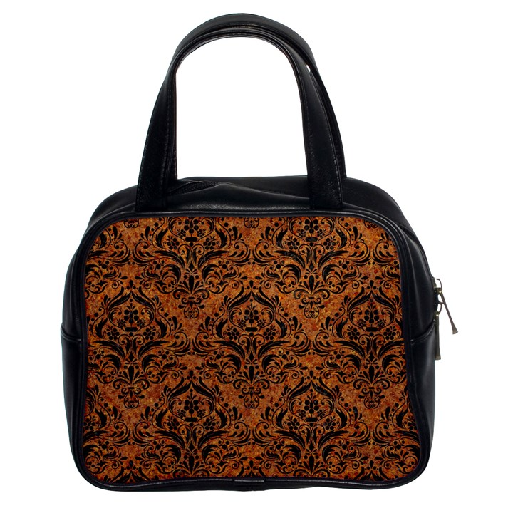 DAMASK1 BLACK MARBLE & RUSTED METAL Classic Handbags (2 Sides)