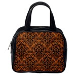 DAMASK1 BLACK MARBLE & RUSTED METAL Classic Handbags (2 Sides) Back