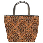 DAMASK1 BLACK MARBLE & RUSTED METAL Bucket Bags Front