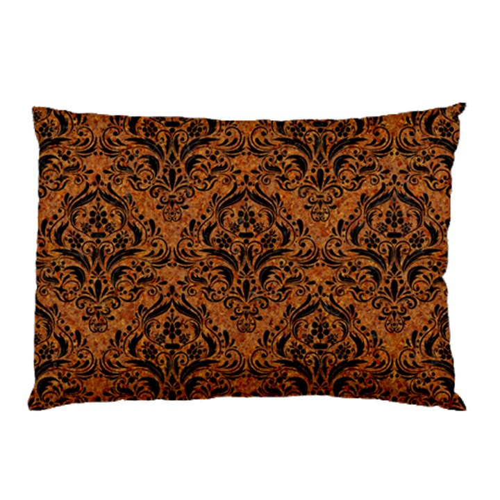 DAMASK1 BLACK MARBLE & RUSTED METAL Pillow Case