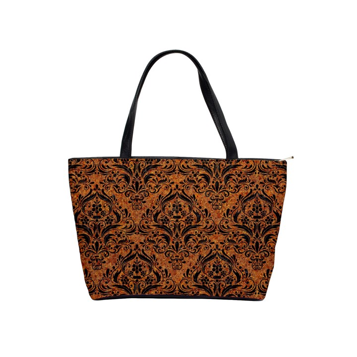 DAMASK1 BLACK MARBLE & RUSTED METAL Shoulder Handbags