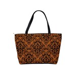 DAMASK1 BLACK MARBLE & RUSTED METAL Shoulder Handbags Back
