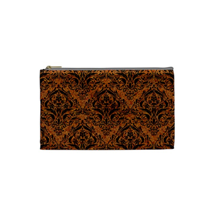 DAMASK1 BLACK MARBLE & RUSTED METAL Cosmetic Bag (Small)