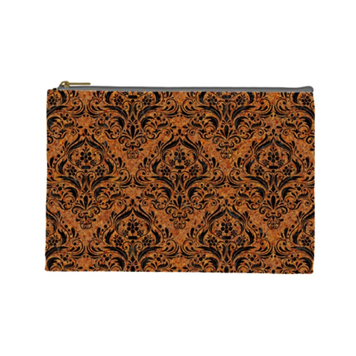 DAMASK1 BLACK MARBLE & RUSTED METAL Cosmetic Bag (Large)