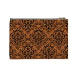DAMASK1 BLACK MARBLE & RUSTED METAL Cosmetic Bag (Large)  Back