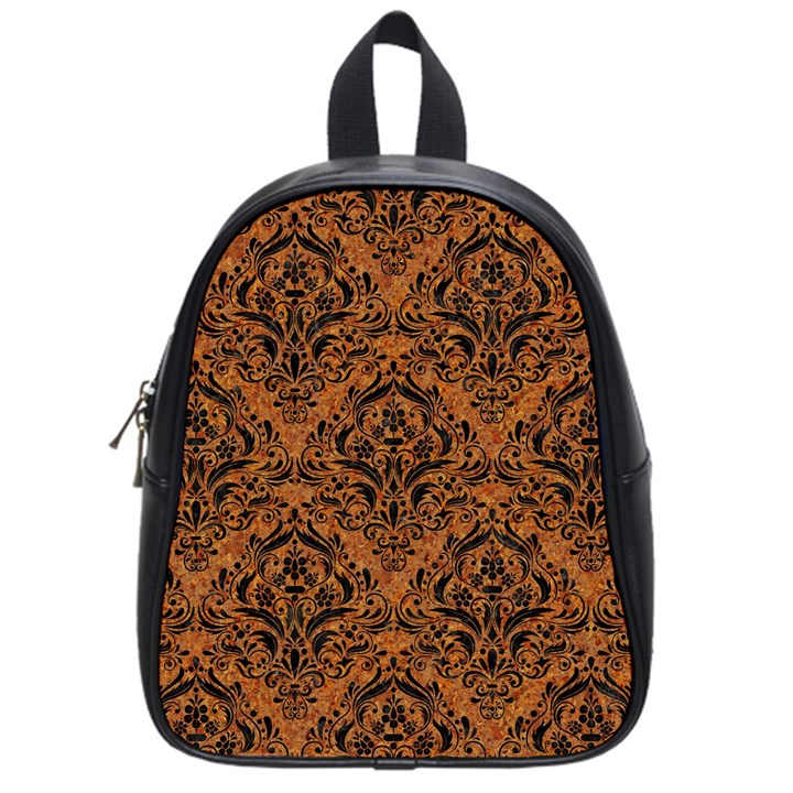DAMASK1 BLACK MARBLE & RUSTED METAL School Bag (Small)