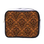 DAMASK1 BLACK MARBLE & RUSTED METAL Mini Toiletries Bags Front