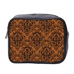 DAMASK1 BLACK MARBLE & RUSTED METAL Mini Toiletries Bag 2-Side Front