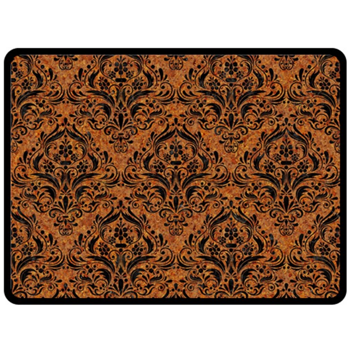 DAMASK1 BLACK MARBLE & RUSTED METAL Fleece Blanket (Large)