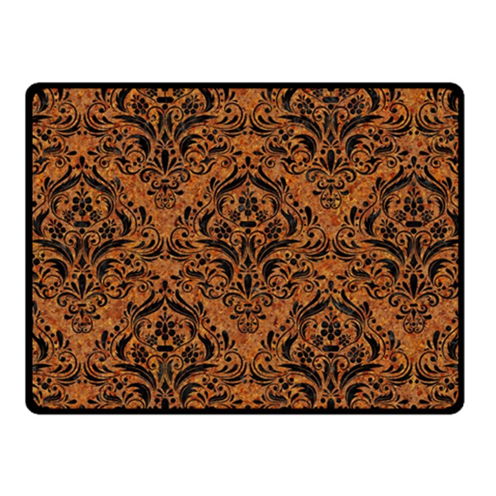 DAMASK1 BLACK MARBLE & RUSTED METAL Fleece Blanket (Small)
