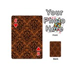 DAMASK1 BLACK MARBLE & RUSTED METAL Playing Cards 54 (Mini)  Front - Heart6