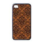 DAMASK1 BLACK MARBLE & RUSTED METAL Apple iPhone 4 Case (Black) Front