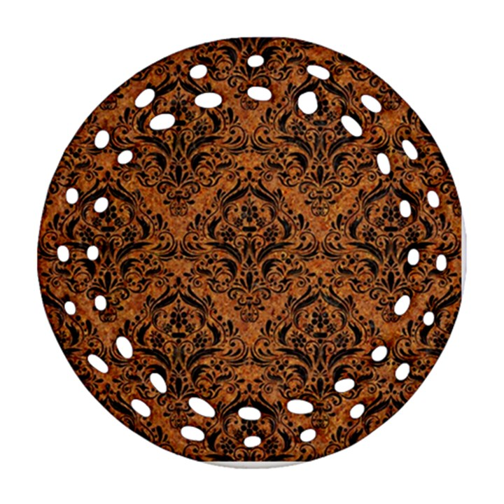DAMASK1 BLACK MARBLE & RUSTED METAL Ornament (Round Filigree)