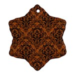 DAMASK1 BLACK MARBLE & RUSTED METAL Ornament (Snowflake) Front