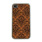 DAMASK1 BLACK MARBLE & RUSTED METAL Apple iPhone 4 Case (Clear) Front