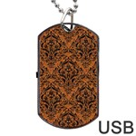 DAMASK1 BLACK MARBLE & RUSTED METAL Dog Tag USB Flash (Two Sides) Front