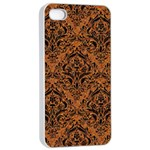 DAMASK1 BLACK MARBLE & RUSTED METAL Apple iPhone 4/4s Seamless Case (White) Front