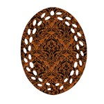 DAMASK1 BLACK MARBLE & RUSTED METAL Oval Filigree Ornament (Two Sides) Front