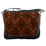DAMASK1 BLACK MARBLE & RUSTED METAL Messenger Bags Front