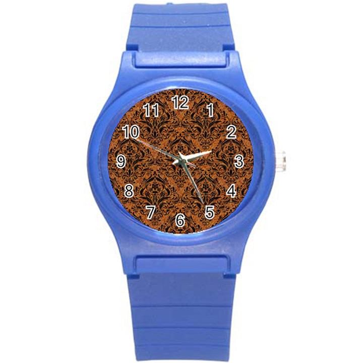 DAMASK1 BLACK MARBLE & RUSTED METAL Round Plastic Sport Watch (S)