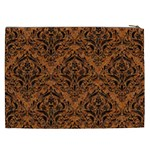 DAMASK1 BLACK MARBLE & RUSTED METAL Cosmetic Bag (XXL)  Back