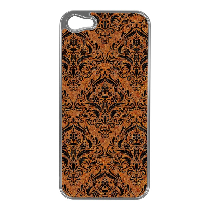 DAMASK1 BLACK MARBLE & RUSTED METAL Apple iPhone 5 Case (Silver)