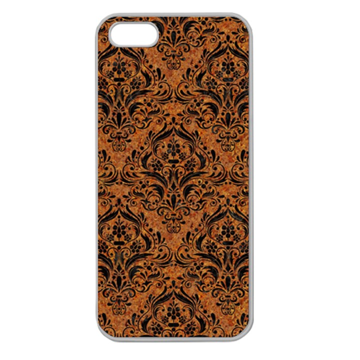 DAMASK1 BLACK MARBLE & RUSTED METAL Apple Seamless iPhone 5 Case (Clear)