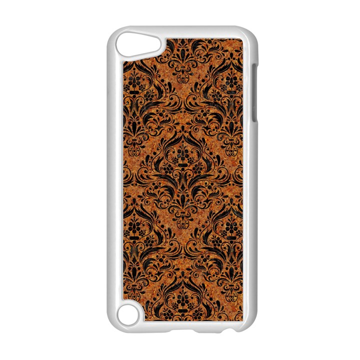 DAMASK1 BLACK MARBLE & RUSTED METAL Apple iPod Touch 5 Case (White)