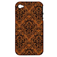 Damask1 Black Marble & Rusted Metal Apple Iphone 4/4s Hardshell Case (pc+silicone)