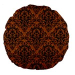 DAMASK1 BLACK MARBLE & RUSTED METAL Large 18  Premium Round Cushions Front
