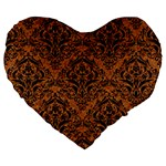 DAMASK1 BLACK MARBLE & RUSTED METAL Large 19  Premium Heart Shape Cushions Front