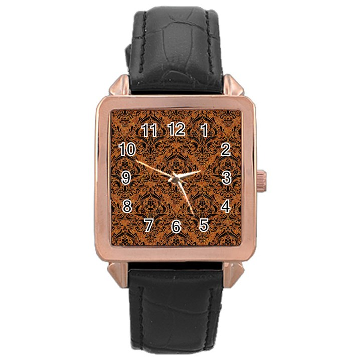 DAMASK1 BLACK MARBLE & RUSTED METAL Rose Gold Leather Watch