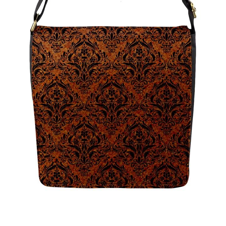 DAMASK1 BLACK MARBLE & RUSTED METAL Flap Messenger Bag (L)