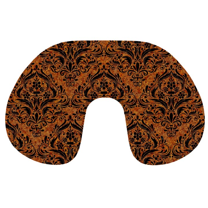 DAMASK1 BLACK MARBLE & RUSTED METAL Travel Neck Pillows