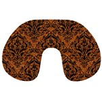 DAMASK1 BLACK MARBLE & RUSTED METAL Travel Neck Pillows Back