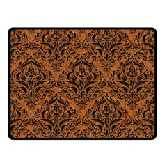 Damask1 Black Marble & Rusted Metal Double Sided Fleece Blanket (small)