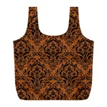 DAMASK1 BLACK MARBLE & RUSTED METAL Full Print Recycle Bags (L)  Back