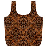 DAMASK1 BLACK MARBLE & RUSTED METAL Full Print Recycle Bags (L)  Front