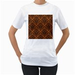 DAMASK1 BLACK MARBLE & RUSTED METAL Women s T-Shirt (White)  Front