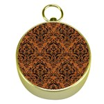 DAMASK1 BLACK MARBLE & RUSTED METAL Gold Compasses Front