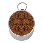 DAMASK1 BLACK MARBLE & RUSTED METAL Mini Silver Compasses Front