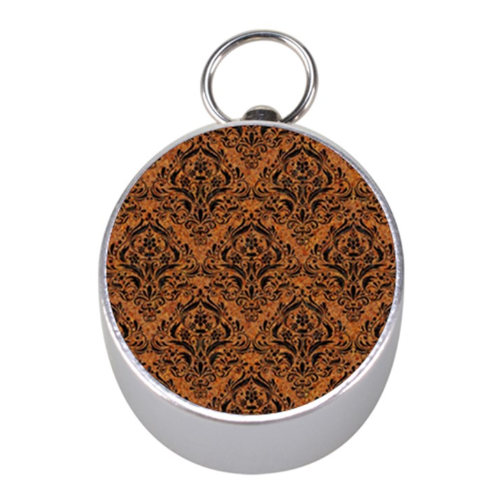 DAMASK1 BLACK MARBLE & RUSTED METAL Mini Silver Compasses