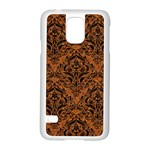 DAMASK1 BLACK MARBLE & RUSTED METAL Samsung Galaxy S5 Case (White) Front
