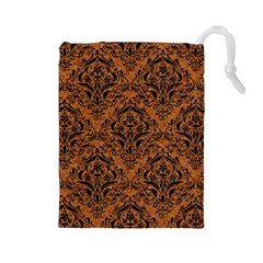 Damask1 Black Marble & Rusted Metal Drawstring Pouches (large)