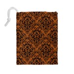 DAMASK1 BLACK MARBLE & RUSTED METAL Drawstring Pouches (Large)  Back
