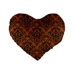 DAMASK1 BLACK MARBLE & RUSTED METAL Standard 16  Premium Flano Heart Shape Cushions Front