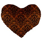 DAMASK1 BLACK MARBLE & RUSTED METAL Large 19  Premium Flano Heart Shape Cushions Front