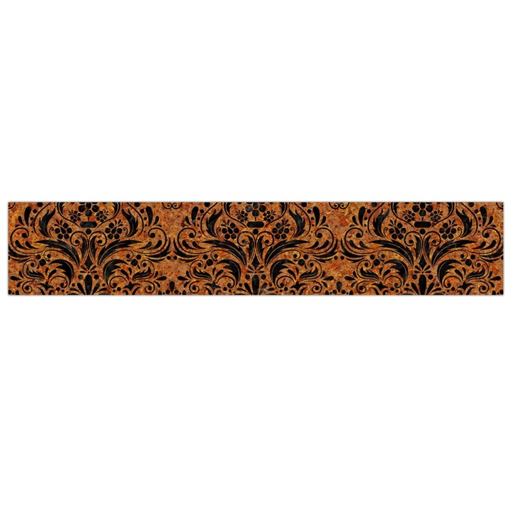 DAMASK1 BLACK MARBLE & RUSTED METAL Flano Scarf (Large)