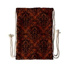 Damask1 Black Marble & Rusted Metal Drawstring Bag (small)